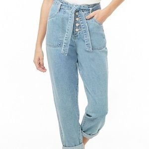 High waisted front tie jeans